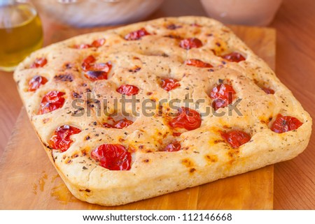 Delicious typical focaccia bread from south of italy