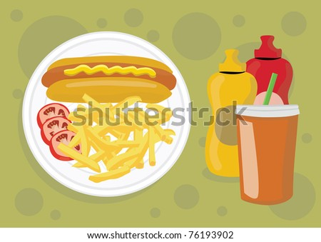 Delicious unhealthy fast food illustration