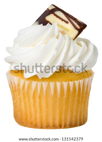 Delicious Vanilla Cupcake with Candy Decoration Isolated