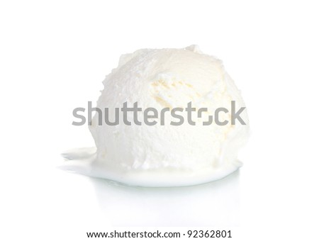delicious vanilla ice cream isolated on white