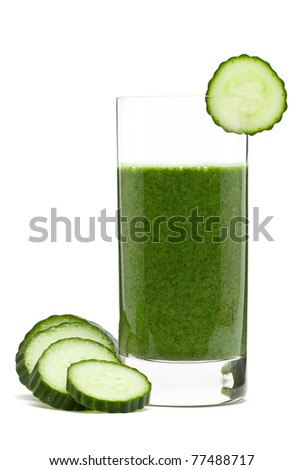 Delicious vegetable smoothie from spinach cucumber and banana