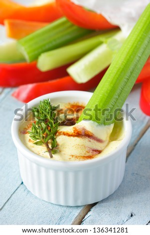 Delicious vegetables and spicy yogurt dip with thyme.