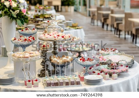 Delicious Wedding Reception Candy Bar Dessert Table Full With Cakes