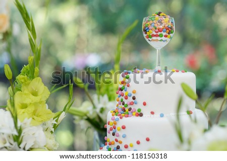 Delicious white wedding cake decorated colorful candies