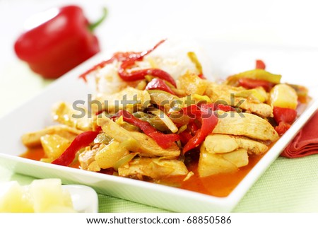 Delicious wok chicken with pineapple and sauce