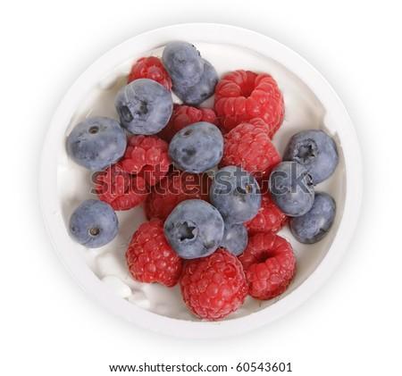 Delicious yogurt with fresh fruit isolated on white background