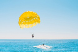 Delight of people from parasailing flight - incredible impressions of the freedom of soaring and amazing view from the height
