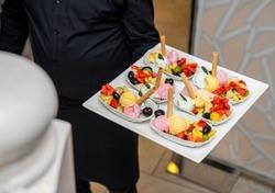 Delightful dessert with fruit and icecream