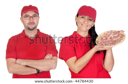 Deliver boy and girl with pizza with red uniform isolated over white background