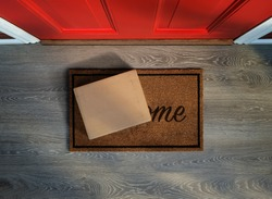 Delivered outside the door, e-commerce purchase on welcome mat. Add your own copy and label