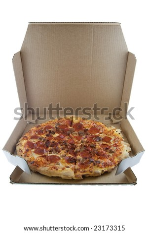 Delivered pizza isolated on white