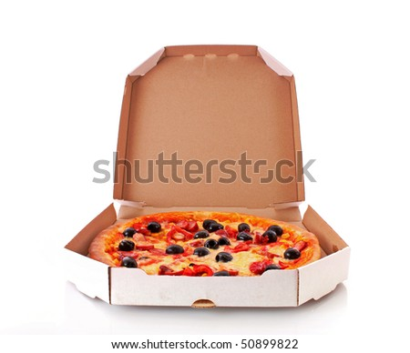 Delivered pizza  with olives isolated on white