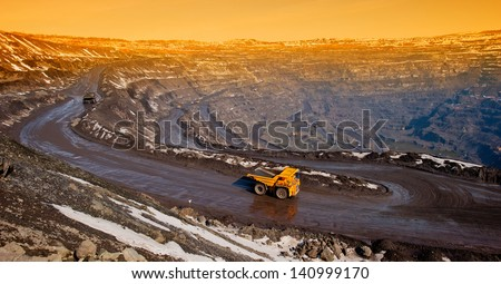 delivery by the motor transport of iron ore from a pit