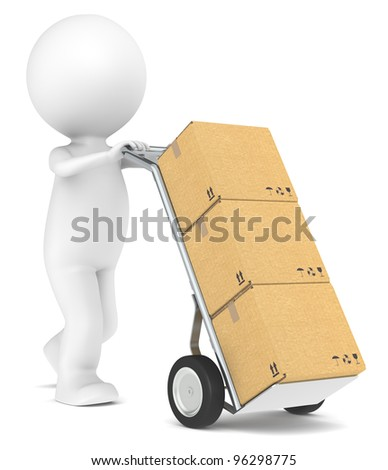 Delivery. 3D little human character with a Hand Truck and Cardboard Boxes. People series.