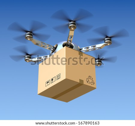 Delivery drone with the package