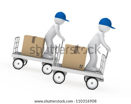 delivery figure drive a trolley fast down