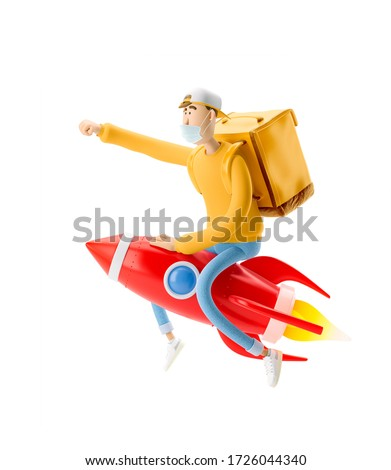 Delivery guy flies on a rocket with urgent order in medical mask and yellow uniform . 3d illustration. Cartoon character. Express delivery concept.