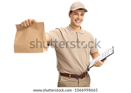 Delivery guy holding a paper bag and a clipboard isolated on white background #1066998665