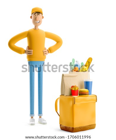 Delivery guy in and yellow uniform stands with grocery bag and fasfood. 3d illustration. Cartoon character. Safe delivery concept.