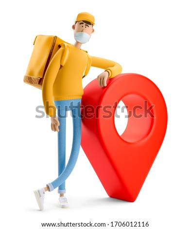 Delivery guy in medical mask and yellow uniform stands with the big bag and a red pin. 3d illustration. Cartoon character. Safe delivery concept.