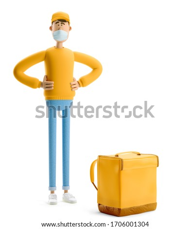 Delivery guy in medical mask and yellow uniform stands with the big bag. 3d illustration. Cartoon character. Safe delivery concept.