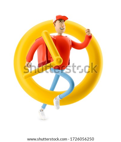 Delivery guy is in a hurry to get there in time. 3d illustration. Cartoon character. Express delivery concept.