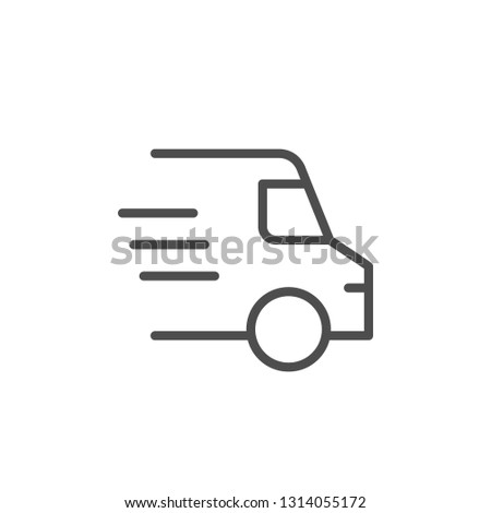 Delivery line icon isolated on white