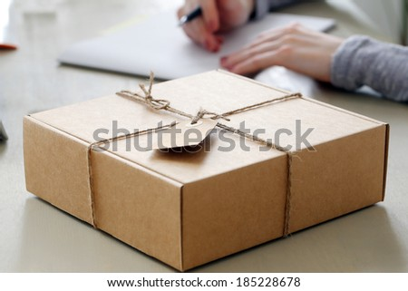 Delivery, mail. Package on the table