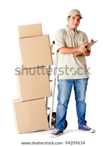 Delivery man holding a clipboard to sign and a trolley - isolated over a white background