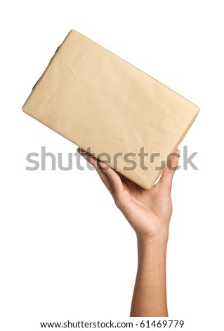 Delivery man holding a package with his hand