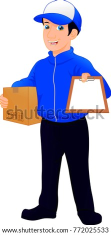 Delivery man holding package and clipboard
