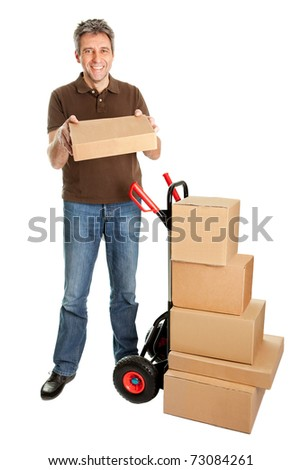 Delivery man holding the package