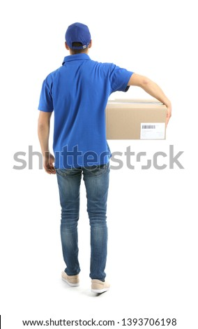 Delivery man with box on white background, back view