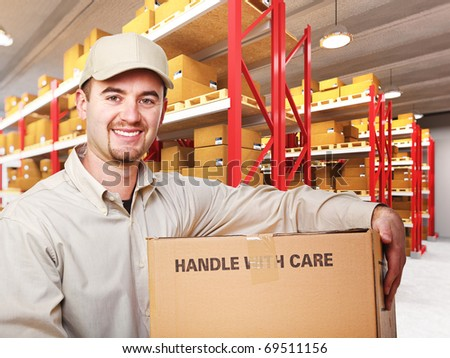 delivery man with parcel in warehouse 3d background