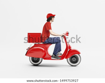 Delivery man with red scooter.