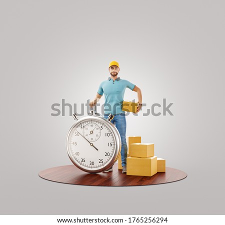 Delivery man with stopwatch timer holding cardboard box. Delivery and post concept. Unusual 3d illustration