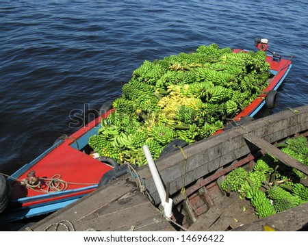 Delivery of bananas by boat, Manaus - Amazonia Brazil