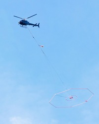 Delivery of items, transportation of goods by helicopter.