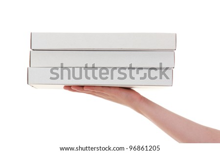 delivery of pizza box , isolated on white background