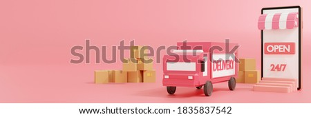 Delivery online gps tracking and satellite,shopping online on mobile application service,smartphone,truck,mapping pin,cardboard box,mockup,isolated pink background,3d rendering,banner header panoramic