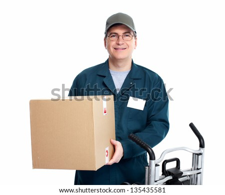 Delivery postman. Isolated on white background.