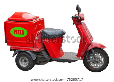 Delivery scooter for pizza isolated on white. Clipping path included.