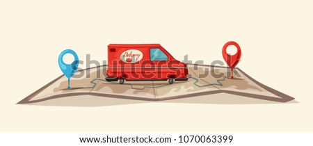 Delivery service by van. Car for parcel delivery. Cartoon illustration. Fast delivery truck or lorry. Car on the map
