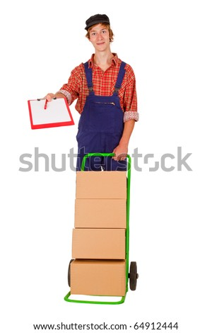 Delivery service man with packets - isolated on white