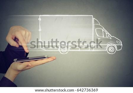 delivery service via modern technology   #642736369