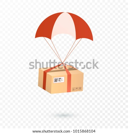 Delivery Services and E-Commerce. Package is flying on parachute. Flat illustration elements isolated on transparent background