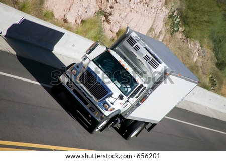 Delivery truck on highway.
