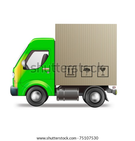 delivery truck package delivery or shipment of cardboard box from online order in internet shop blank copy space isolated white background sending parcel free delivery express delivery or relocation