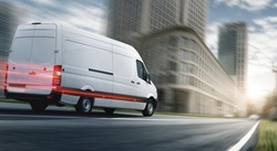 Delivery van delivers fast in a city