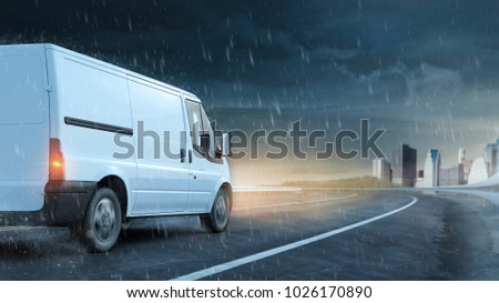 Delivery van drives on road in rain and wet road to the city (3D Rendering) #1026170890